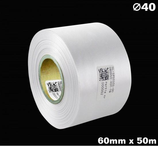 Biała taśma satynowa premium 60mm x 50mb