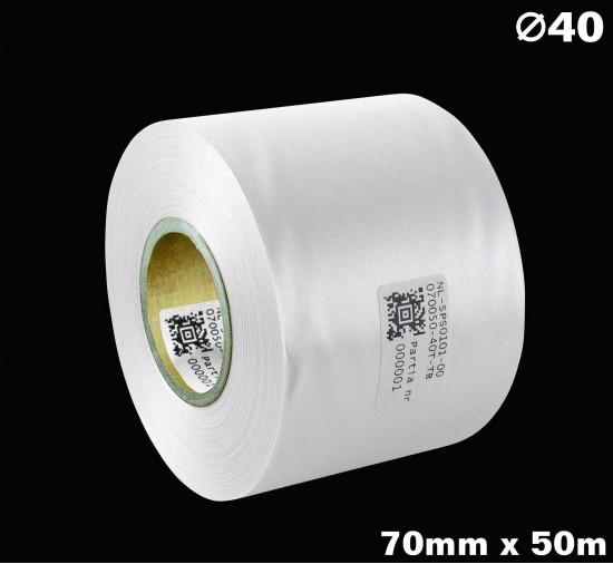 Biała taśma satynowa premium 70mm x 50mb