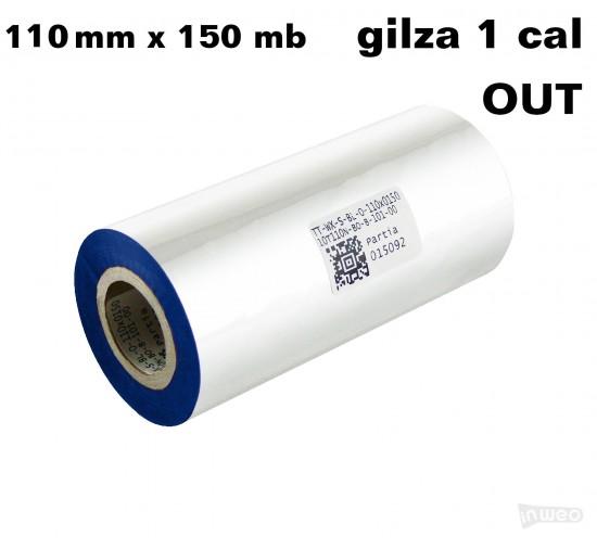 Taśma termotransferowa woskowa niebieska 110x150 OUT