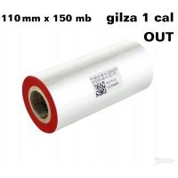 Taśma termotransferowa woskowa czerwona 110x150 OUT