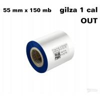 Taśma termotransferowa woskowa niebieska 55x150 OUT
