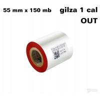 Taśma termotransferowa woskowa czerwona 55x150 OUT