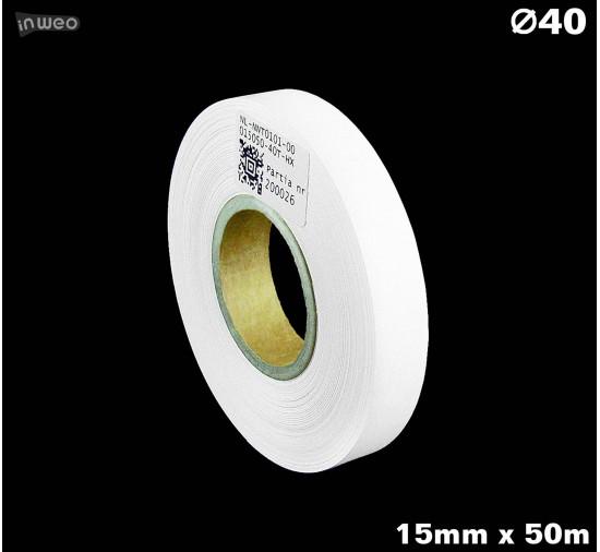 Taśma nylonowa dwustronna biała PREMIUM OekoTex 15mm x 50mb