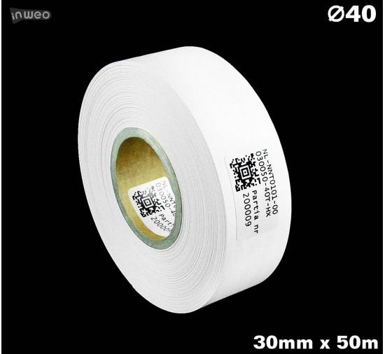 Taśma nylonowa dwustronna biała PREMIUM OekoTex 30mm x 50mb