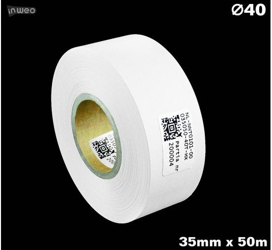 Taśma nylonowa dwustronna biała PREMIUM OekoTex 35mm x 50mb