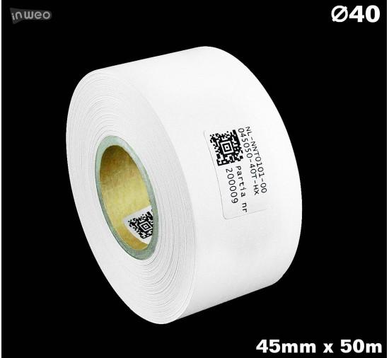 Taśma nylonowa dwustronna biała premium OekoTex 45mm x 50mb