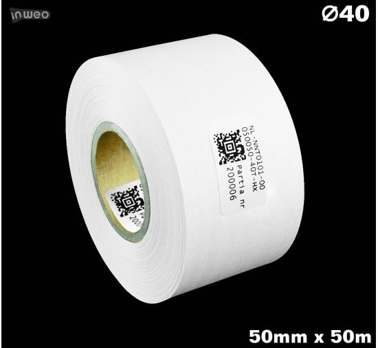 Taśma nylonowa dwustronna biała premium OekoTex 50mm x 50mb