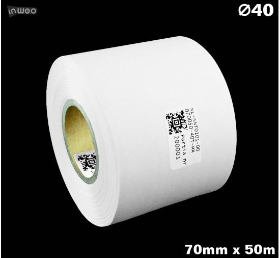Taśma nylonowa dwustronna biała premium OekoTex 70mm x 50mb