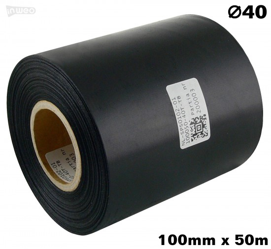 Czarna taśma satynowa premium 100mm x 50mb