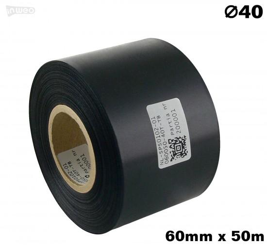 Czarna taśma satynowa premium 60mm x 50mb
