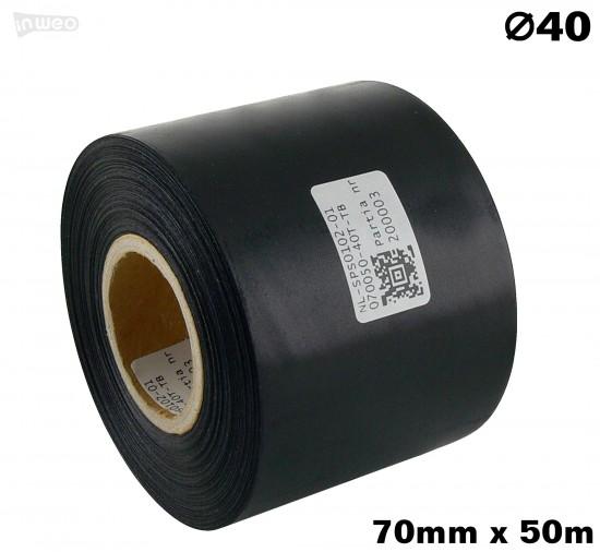 Czarna taśma satynowa premium 70mm x 50mb