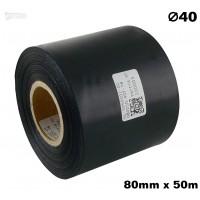 Czarna taśma satynowa premium 80mm x 50mb
