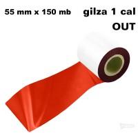 Czerwona taśma termotransferowa żywiczna do folii 55x150 OUT Taśmy termotransferowe