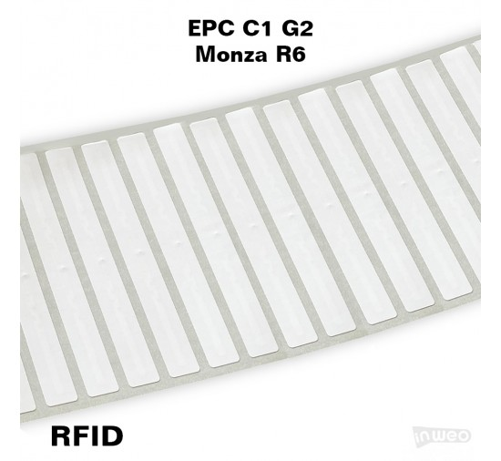 Foliowa samoprzylepna etykieta RFID do zadruku, 103 x 12, EPC C1 G2, Monza R6