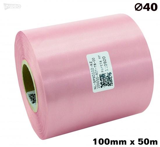 Różowa taśma satynowa premium 100mm x 50mb