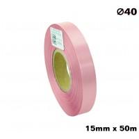Różowa taśma satynowa premium 15mm x 50mb