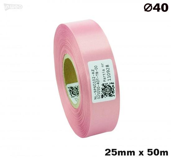Różowa taśma satynowa premium 25mm x 50mb
