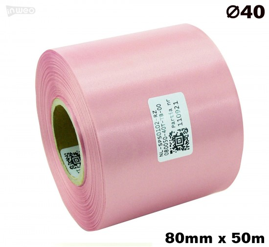Różowa taśma satynowa premium 80mm x 50mb
