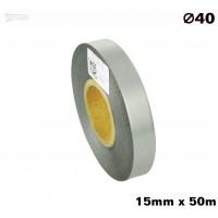 Srebrna taśma satynowa premium 15mm x 50mb