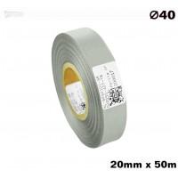 Srebrna taśma satynowa premium 20mm x 50mb