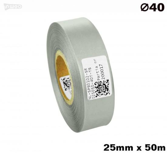 Srebrna taśma satynowa premium 25mm x 50mb