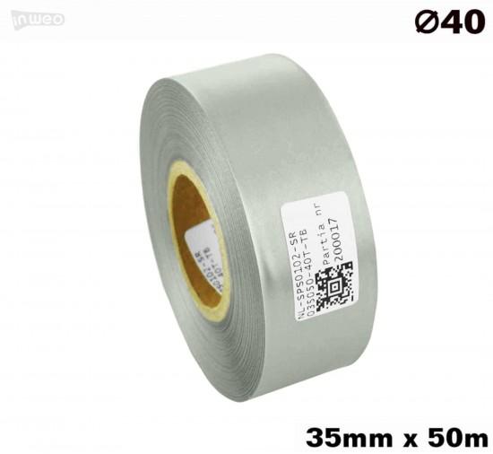 Srebrna taśma satynowa premium 35mm x 50mb