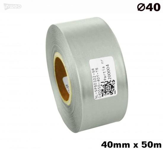 Srebrna taśma satynowa premium 40mm x 50mb