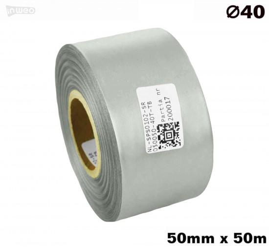 Srebrna taśma satynowa premium 50mm x 50mb