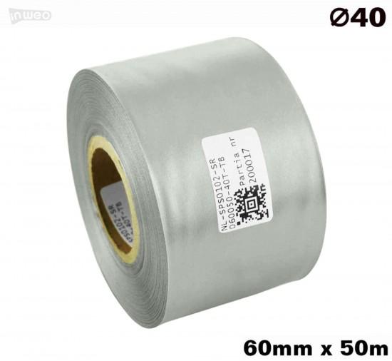 Srebrna taśma satynowa premium 60mm x 50mb