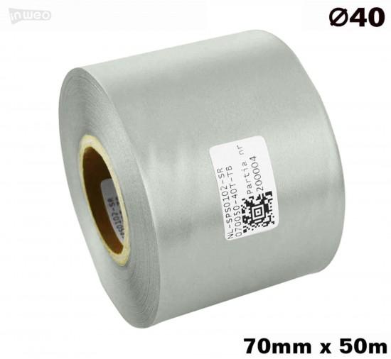 Srebrna taśma satynowa premium 70mm x 50mb