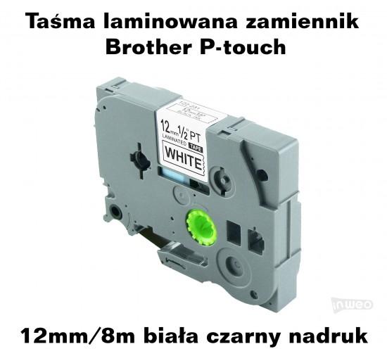Taśma laminowana Brother P-touch TZ - 12mm/8m biała czarny nadruk TZ231