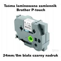 Taśma laminowana Brother P-touch TZ - 24mm/8m biała czarny nadruk TZ251 Produkty