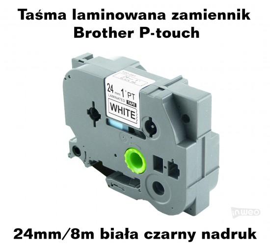 Taśma laminowana Brother P-touch TZ - 24mm/8m biała czarny nadruk TZ251