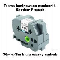 Taśma laminowana Brother P-touch TZ - 36mm/8m biała czarny nadruk TZ261 Produkty