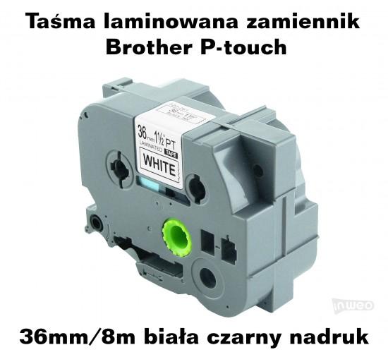 Taśma laminowana Brother P-touch TZ - 36mm/8m biała czarny nadruk TZ261