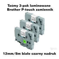 Taśmy 3-pak laminowane Brother P-touch TZ - 12mm/8m białe czarny nadruk TZ231 Taśmy termotransferowe
