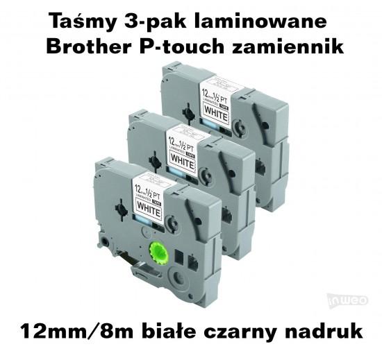 Taśmy 3-pak laminowane Brother P-touch TZ - 12mm/8m białe czarny nadruk TZ231