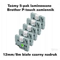 Taśmy 5-pak laminowane Brother P-touch TZ - 12mm/8m białe czarny nadruk TZ231