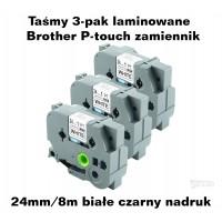 Taśmy 3-pak laminowane Brother P-touch TZ - 24mm/8m białe czarny nadruk TZ251 Taśmy termotransferowe