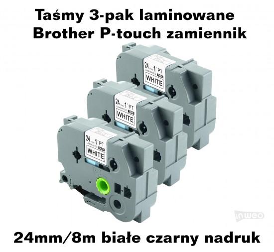 Taśmy 3-pak laminowane Brother P-touch TZ - 24mm/8m białe czarny nadruk TZ251