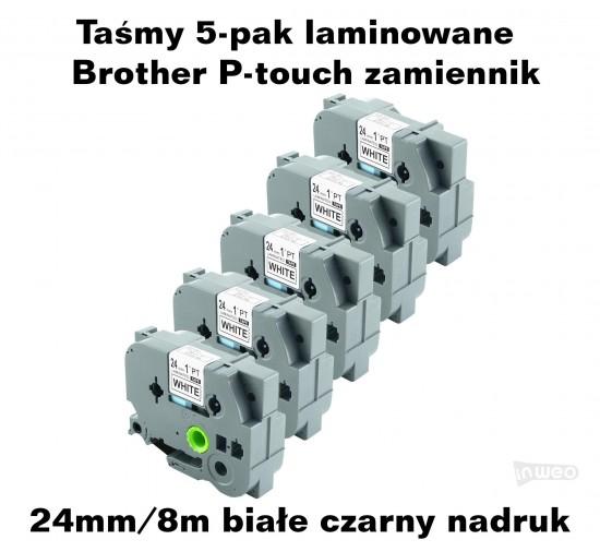Taśmy 5-pak laminowane Brother P-touch TZ - 24mm/8m białe czarny nadruk TZ251