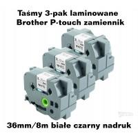 Taśmy 3-pak laminowane Brother P-touch TZ - 36mm/8m białe czarny nadruk TZ261 Taśmy termotransferowe