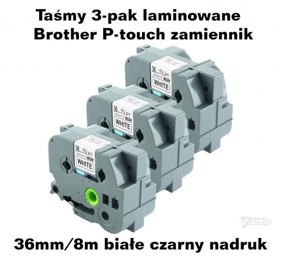 Taśmy 3-pak laminowane Brother P-touch TZ - 36mm/8m białe czarny nadruk TZ261