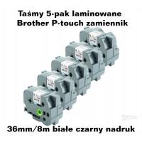 Taśmy 5-pak laminowane Brother P-touch TZ - 36mm/8m białe czarny nadruk TZ261