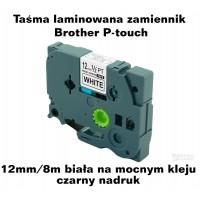 Taśma zamiennik do Brother 12mm/8m biała na mocnym kleju czarny nadruk TZ2-S231 Produkty
