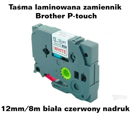 Taśma laminowana Brother P-touch TZ - 12mm/8m biała czerwony nadruk TZ2-232 Produkty