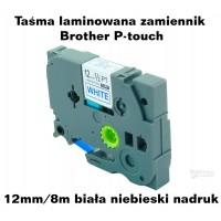 Taśma laminowana Brother P-touch TZ - 12mm/8m biała niebieski nadruk TZ2-233 Produkty