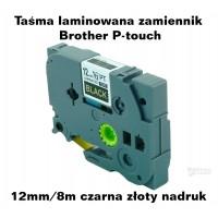 Taśma laminowana Brother P-touch TZ - 12mm/8m czarna złoty nadruk TZ2-334 Produkty