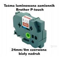 Taśma zamiennik do Brother 24mm/8m czerwona biały nadruk TZ455