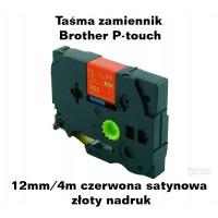 Taśma satynowa zamiennik do Brother 12mm/4m czerwona satynowa złoty nadruk TZ2-R434 Produkty